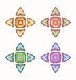 set of 4 symmetric geometric shapes vector image