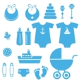 set of baby boy elements icons vector image vector image