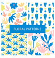 set of hand drawn colorful floral repeat patterns vector image vector image
