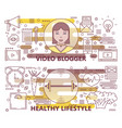 set of thin line video blogger healthy vector image