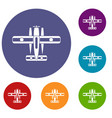 ski equipped airplane icons set vector image vector image