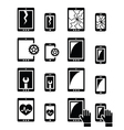 Smartphone tablet repair - broken screen icons vector image vector image