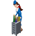 stewardess with an aircraft meal cart vector image vector image