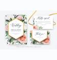 stylish floral watercolor wedding invite card set vector image vector image