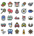 summer vacation related icon set 6 filled style vector image vector image