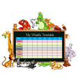 timetable template with many animals vector image