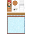 top view of swimming pool and a boy cartoon vector image