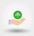 tree in a hand sign of environmental protection vector image vector image