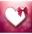 valentine s card with heart and bow vector image vector image