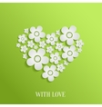 Valentines day heart of white flowers vector image vector image
