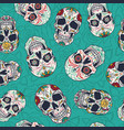 vintage mexican sugar skulls seamless pattern vector image