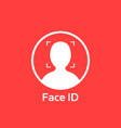 white face id icon on red background vector image