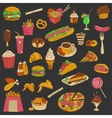 Colored hand drawn fast food icon set vector image