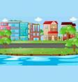 city scene with buildings and road vector image
