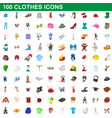 100 clothes icons set cartoon style vector image vector image