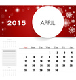 2015 calendar monthly calendar template for April vector image