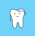 adorable molar tooth with face covering its vector image vector image
