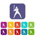baseball player with bat icons set flat vector image vector image