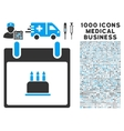 Birthday Cake Calendar Day Icon With 1000 Medical vector image vector image