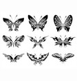 black and white butterflies tattoo design vector image vector image
