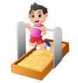 boy hangs on a horizontal bar vector image vector image