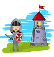 cartoon knight going to rescue princess from the vector image