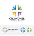 crowd health logo design vector image vector image
