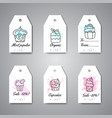 cupcake gift tags with handdrawn cupcakes and pink vector image vector image