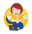 Customer Support Help Desk Woman Blue Shirt vector image