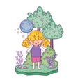 cute little girl with moon kawaii in the landscape vector image vector image