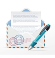 detailed envelope and ink pen vector image vector image