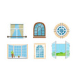 different types windows set glass vector image