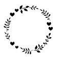 doodle monochrome heart and leaf circle frame vector image vector image
