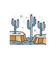 dry desert line art scenery wild land with cactus vector image