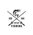 fishing logo bass fish club emblem theme vector image vector image