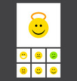 flat icon expression set of hush frown grin and vector image vector image