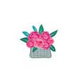 floral gift flower in basket summer decor sign vector image