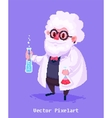 Funny scientist character Isolated on violet vector image