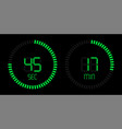 green stopwatch countdown digital timer vector image vector image
