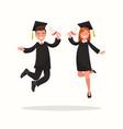 guy and girl university graduates joyfully bounce vector image vector image