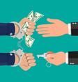 hand with key unlocking handcuffs for money vector image