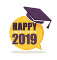 happy graduation greeting isolated icon academic vector image