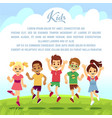 happy school kids fun friends jumping and playing vector image