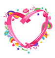 happy valentine day ribbon frame vector image vector image
