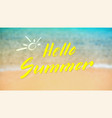 hello summer calligraphy lettering on tropical vector image