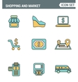 Icons line set premium quality of shopping symbol vector image vector image