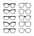 isolated black glasses and sunglasses set icons vector image