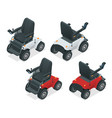 isometric set of electric wheelchair new large vector image vector image