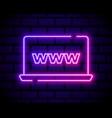 laptop or notebook computer icon colour neon vector image