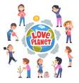love planet banner children taking care earth vector image vector image